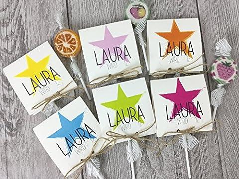 Einladungskarten Kindergeburtstag mit Stern COLOR inkl. Lollies oder Gummibärchen (Personalisierte Einladungen)