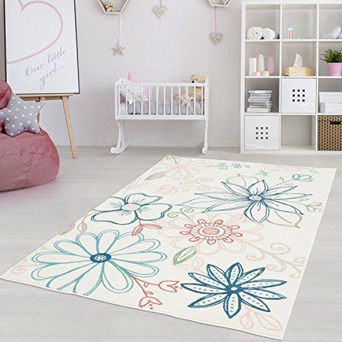 Blüte Grün-teppich (Kinderteppich Jugendteppich Pastell Flachflor Modern Blumen Blüten Kinderzimmer Jugendzimmer Pastellblau/-rosa Mint 200 x 290 cm)