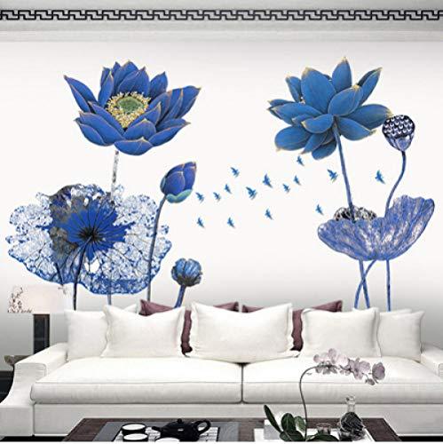 Jkxiansheng poster vintage adesivi murali carta da parati 3d fiore di loto blu soggiorno in stile cinese camera da letto home decor art