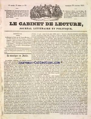CABINET DE LECTURE (LE) [No 10] du 23/01/1835
