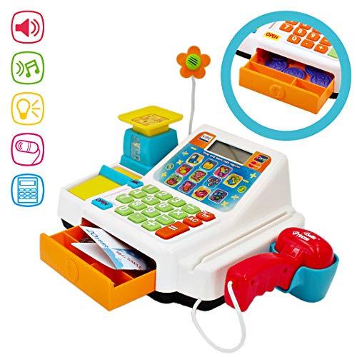 deAO Caja Registradora Electrónica de Juguete con Escáner, Micrófono, Cinta y Lector de Tarjetas Conjunto de Accesorios de Tienda y Supermercado Infantil Incluye Alimentos de Juguete
