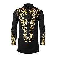 Xingsiyue Men Muslim Shirts Fashion Bronzing Shirt Casual Pullover Long Sleeve Kaftan Robe African Print Clothes