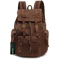 Ecocity Unisex Vintage Lonas Laptop Backpack Rucksack Mochila Escolar, Marrón