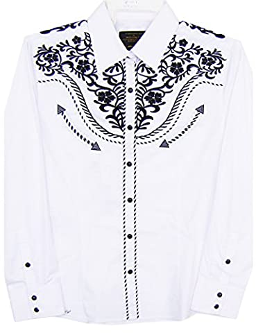 Modestone Women's Women's Embroidered Long Sleeve Western Chemise Floral White