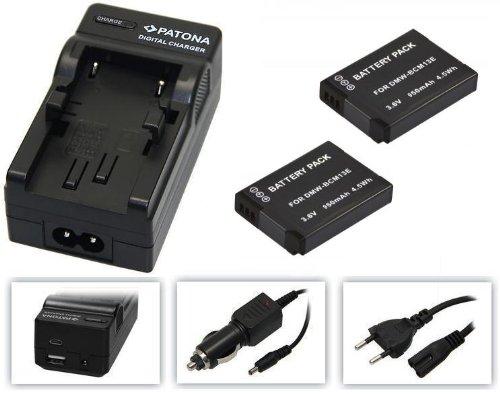 4in1-SET für die Panasonic Lumix TZ58 / DMC-TZ58EG-K --- 2x Akku für Panasonic BCM13 (950mAh) + 4in1 Ladegerät (u.a. mit USB / micro-USB und Kfz/Auto) inkl. PATONA Displaypad