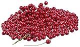 VBS Großhandelspackung 400 Deko Beeren mit Draht Kranz ca. ø 1cm rot künstlich Rot