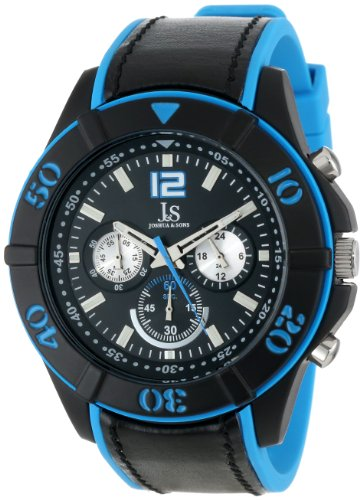 Joshua & Sons Men's JS51BU Black and Blue Metal Watch with Plastic Strap