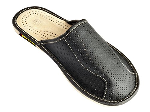 Hadley - Zapatillas de ir por casa de hombre de piel negras MS414A, color Marrón, talla 42.5