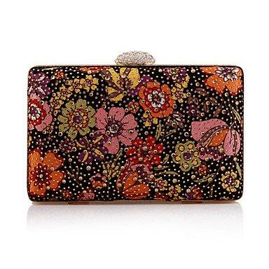 pwne L. In West Woman Fashion Flower Diamanten Abend Tasche Black