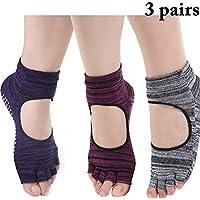 Zoylink Calcetines De Yoga Para Mujer Calcetines Del Dedo Del Pie Calcetines De Algodón Transpirable Para Ballet Pilates