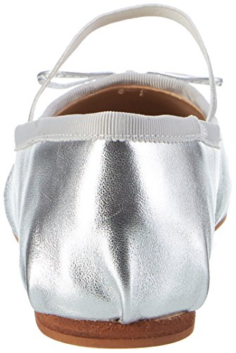 Buffalo London 216-6144 Leather Metalic, Ballerine Donna Argento (Silver)