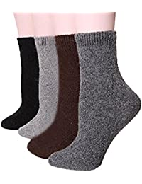 Possec Calcetines calientes del equipo de los calcetines calientes del invierno de la lana de los hombres Colores puros con las cajas de embalaje Paquete de 4