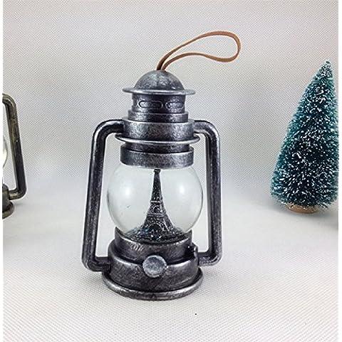 Lámpara de queroseno XJoel vieja lámpara linterna de plata Lanter Paris Tour decorativa de cristal LED