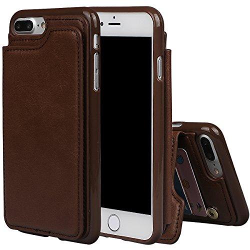 """xhorizon TM Housse de portefeuille antidéflagrant durable, étui en cuir de luxe Folio porte-monnaie avec fente de soutien de carte de crédit pour iPhone 7 Plus [5.5""""] avec 9H film de protection verre  café"""