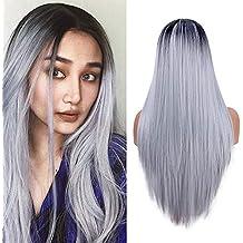 Largas pelucas rectas para las mujeres moda plata gris vestido de lujo 22  pulgadas Ombre peluca 1ec03c8a52df