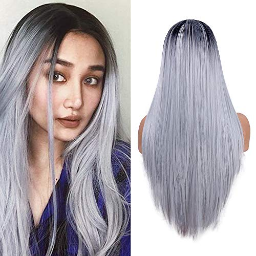 Largas pelucas rectas mujeres moda plata gris vestido
