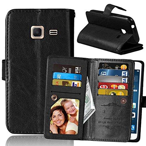 Flip Samsung J1Mini Fall Folio Case Solid Farbe Premium Synthetik-Leder-Kasten-Standplatz-Mappen-Kasten-Kasten mit 9 Karten-Bargeld-Slots für Samsung Galaxy J1Mini ( Color : White , Size : SamsungJ1Mi Black
