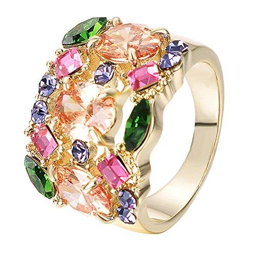 Yoursfs Bague pierres multicolores 59mm 18k plaqué Or Solitaires en Cristal australien pavés pour Femmes ou Hommes comme Accessoire Cadeau d'Anniversaire