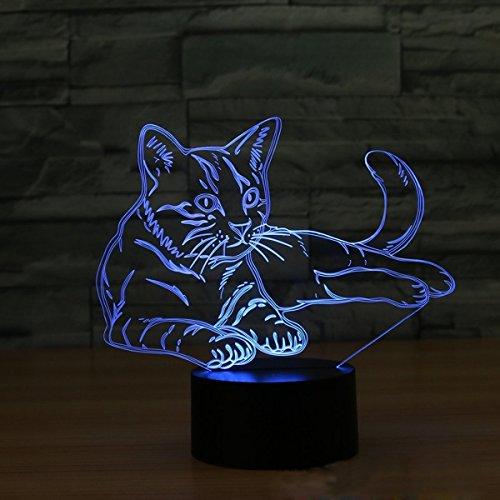 3D LED Nachtlicht Katze Modell,DINOWIN 3D Optische Illusions-Lampen Touch Tischlampe Haus Dekoration 7 Farben Einzigartige Lichteffekte,Best Kinder Geschenk (Katze)