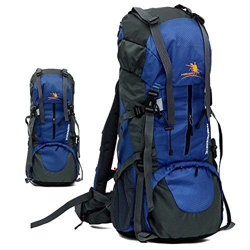 Hechen borsa da viaggio uomo e donna 60 + 5l, zaino da viaggio all'aperto, zaino grande capacità, zaino da montagna, escursionismo,c