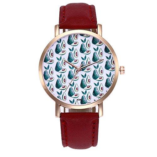 Luckhome Damen Uhr Mit Lederarmband In Graphite Frau Mode Leder Band Analog Quarz Runde Armbanduhr Uhren Neuer Trend Gürteluhr(Rot) - Graphit Leder