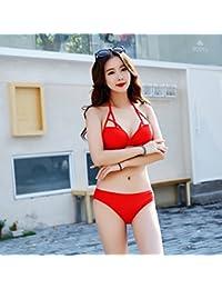 Klxeb Split Bikini Maillot de bain Student Rouge Lotus Dentelle Petit coffre Vacation Beach Hot Spring Maillot de bain, L, rouge