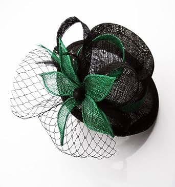 Womens Black and Green Mesh Flower Hat Fascinator