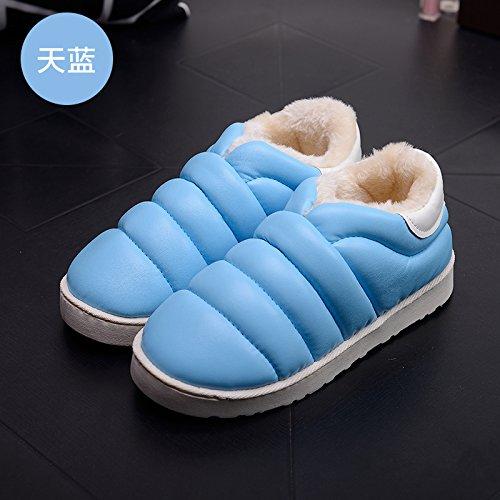 DogHaccd pantofole,Inverno impermeabile in pelle pu uomini e donne matura il cotone Snow Boots corto e fitto studenti caldo cotone piatto scarpe scarpe donna Blu cielo4