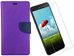 DMGC FLIP COVER FOR LeTv Le 1S With Tempered Glass - (Purple)