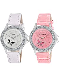 Tarido Pink & White Round Dial Analog Wrist Combo Watch For Women
