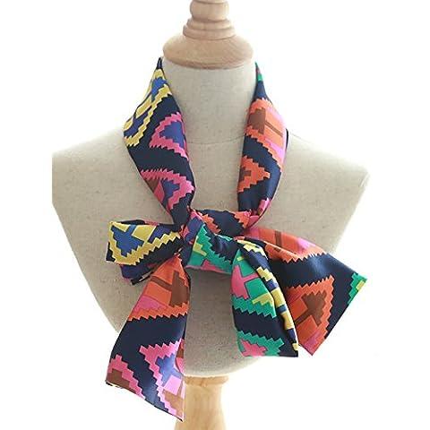 Europeo de primavera de la versión coreana de la nueva larga bufanda bufandas grandes salvajes adornados con la hembra de la cinta de impresión del satén de seda de la bufanda (14 colores del mismo tamaño) ( Color : E )