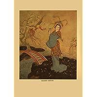Edmund Dulac princesa Badoura, de las aventuras de Príncipe Camaralzaman y la princesa, de Arabian Nights, One mil y una noches por Laurence Housman c1907250gsm brillante Art Tarjeta A3reproducción de póster