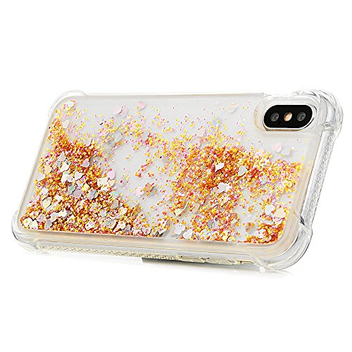 MAXFE.CO Schutzhülle Tasche Case für iPhone X TPU Silikon Cover Einfarbig Etui Protective Schale Bumper Bling Herzen Diamanten Bunt Bunt