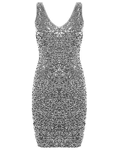 PrettyGuide Damen reizvoller tiefer V-Ausschnitt Pailletten Glitzer Bodycon Stretchy Minipartei-Kleid Silver