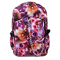 Space Galaxy Pattern Backpack Rucksack | Red / Purple School College Cosmos Goth Rock Emo Skate Bag
