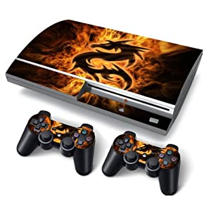 PS3 FAT PlayStation 3 Skin Aufkleber PVC für Konsole + 2 Controller / Pads Schutzfolie Aufkleber Cover Art Leder Wirkung Fire Dragon