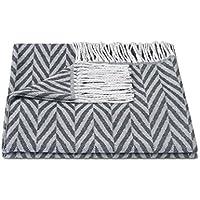 ZOLLNER Manta para el sofá con Flecos, 130x170 cm, Gris Oscuro, Otro Color