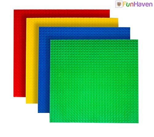 FunHaven 4er Pack Bauplatte Regenbogen Groß Basis Platten Ziegel Building Bretter für Mädchen Jungen 32x32 Nieten Or 10X10 Zoll Zubehör Platte Bases Kompatibel mit Major Marken (Rot-Gelb-Blau-Grün)