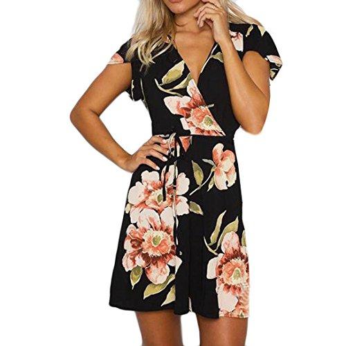 Heiß! Damen Kleid Yesmile Frauen Frühling Sommer Lose Halbe Hülse Minikleid Blumendruck Bowknot Ärmeln Cocktail Minikleid Casual Party Kleid (L, Schwarz) (Mini-cocktail-kleid)