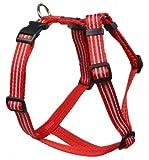 Feltmann Mopsgeschirr Hundegeschirr Soft Nylon, Reflektierend, Rot, 7-13kg, 20mm