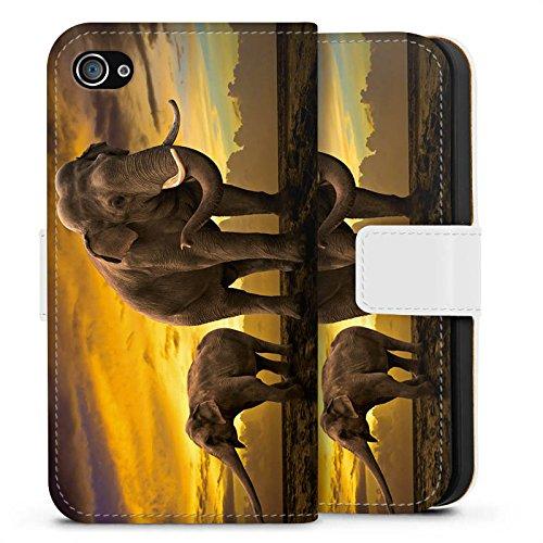Apple iPhone X Silikon Hülle Case Schutzhülle Elefant Elefanten Rüsseltier Sideflip Tasche weiß