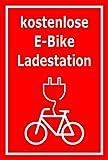 Melis Folienwerkstatt Schild - E-Bike Lade-Station - 60x40cm | Bohrlöcher | 3mm Aluverbund - S00050-066-D -20 Varianten