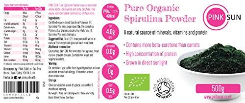 Organic Spirulina Powder 2kg (500g x 4) Gluten Free, Non GM, Suitable for Vegetarians and Vegans, Certified Organic by the Soil Association PINK SUN Bulk