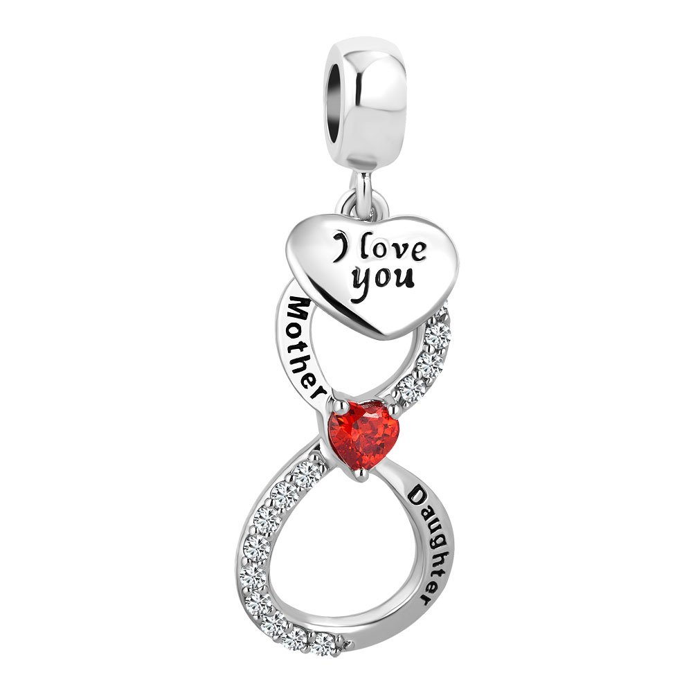 a16a59fcaef53 Korliya Mother Daughter I Love You Heart Infinity Charm Dangle Bead for  Bracelet