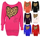 New Ladies Off Shoulder Long Sleeve Batwing 'Leopard Heart Print' Womens Top S/M-M/L