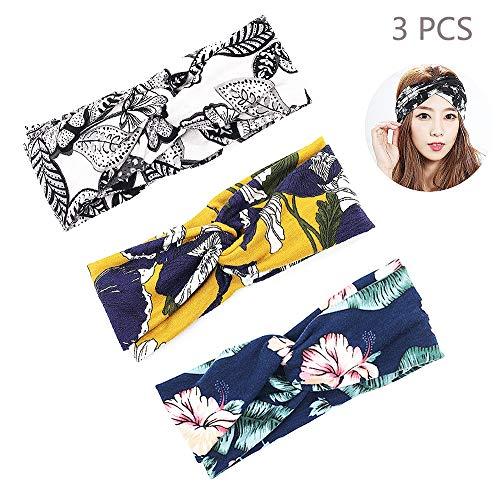Daimay 3 Stück Damen Stirnbänder Soft Elastische Blume Muster Sportliche Headband Kopftuch Wickeln Niedlich für Joggen Yoga Gym Fitness Training (Bandana Sportliche)