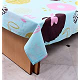 """Miyanbazaz Textiles 100% Cotton, Turquoise Blue&Multi Color Floral Printed 6 Seater Dining Table Cover In 60""""x90"""" With Best Fabric Quality"""