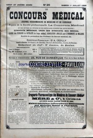 concours-medical-le-no-26-du-01-07-1899-financiere-medicale-avis-societe-civile-du-concours-medical-