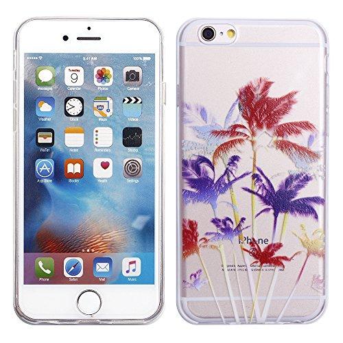 "iProtect TPU Schutzhülle Apple iPhone 6 6s (4,7"") Soft Case - flexible Hülle in transparent Avocado Design Softcase Palmen"