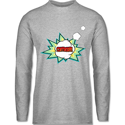 Comic Shirts - OMG - Oh my god Denkblase - Longsleeve / langärmeliges T-Shirt für Herren Grau Meliert